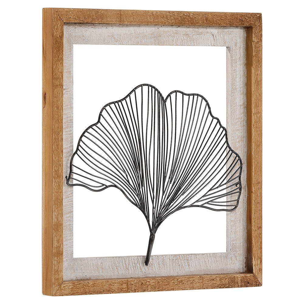 Rustic Wood Framed And Wire Ginkgo Leaf Wall Decor